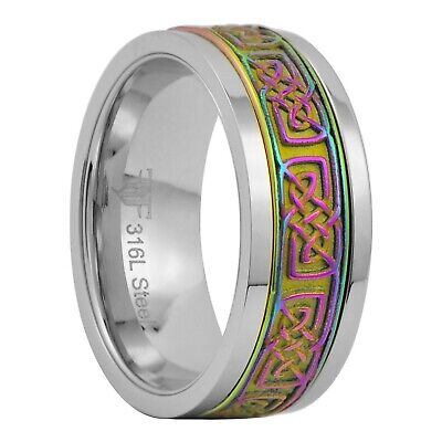 $19.99 • Buy Rainbow Celtic Spinner Ring Womens Mens 8mm Stainless Steel Band Size 3-15