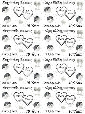 Personalised Tin 10th Wedding Anniversary Gift Wrapping Paper ADD NAMES & DATE • 3.59£