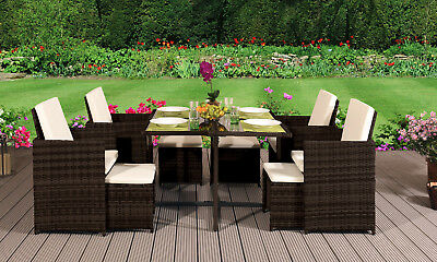 Cube Rattan Garden Furniture Set Chairs Sofa Table Outdoor Patio Wicker 8 Seater • 9,999.99£