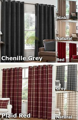 Chenille Or Plaid Check Eyelet Curtains Ring Top Ready Made Lined Heavy Weight • 49.95£