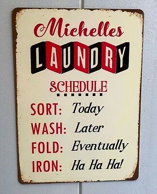 Laundry Room Sign Personalised Laundry Schedule Vintage Retro Metal Hanging Sign • 8.95£
