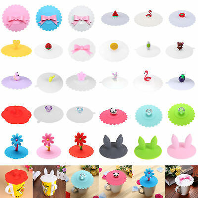 £2.08 • Buy Soft Silicone Cute Cartoon Anti-dust Coffee Mug Suction Lid Cap Sealed Cup Cover