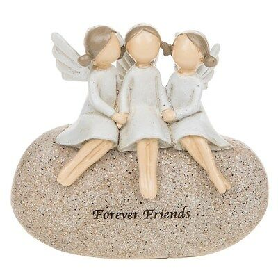 £10.90 • Buy Small Angel Stone Triple 3 Friends Forever  Pebble Ornament 281530