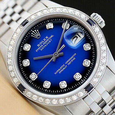$ CDN5972.52 • Buy Mens Rolex Datejust Blue Vignette Sapphire Diamond 18k White Gold & Steel Watch