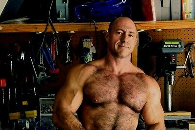 $ CDN4.40 • Buy Shirtless Male Muscular Hairy Chest Older Dude Beefcake Huge Pecs PHOTO 4X6 D229