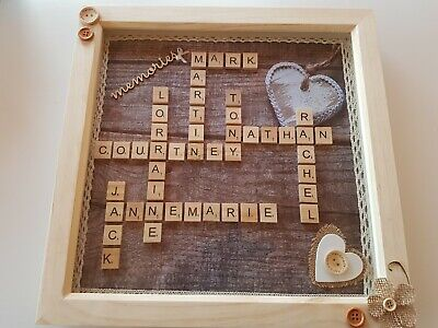 * Beautiful Handmade Personalised Scrabble Pictures *  Large 12  X 12  Ins • 24.99£