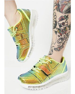 $99 • Buy YRU Pyramid Aiire Hologram Green Iridescent Sneakers Shoes Clear Soles Lace Up