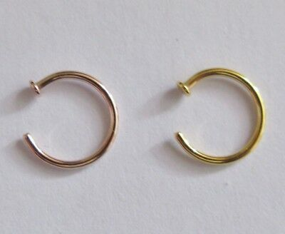 AU4.51 • Buy Small Nose Ring - Gold Or Rose Gold Plated - Surgical Steel - 7mm  X  0.8mm