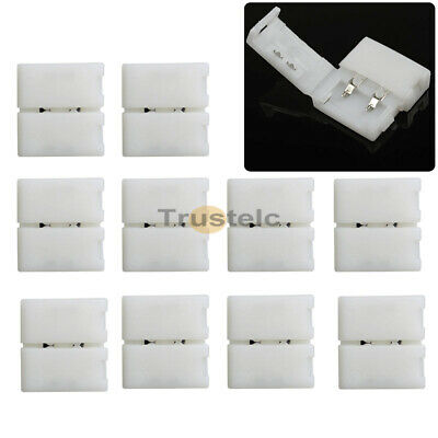 10X White 10mm 2 PIN Solderless Connector Adapter For 5050 5630 LED Strip Light  • 3.79$