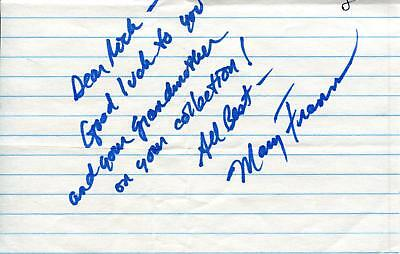 $ CDN18.79 • Buy Mary Frann Actress In Newhart & Days Of Our Lives Signed Page Autograph