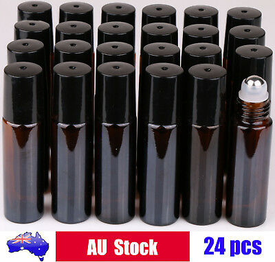 AU19.99 • Buy 24X 10ml Amber THICK Glass Roller Bottles Big Steel Roll On Ball Essential Oils