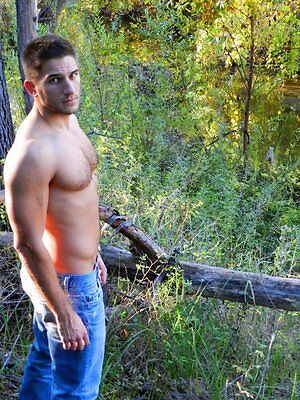 $ CDN3.64 • Buy Shirtless Beefcake Male Dude Hairy Bare Chest Jeans Woods PHOTO PINUP 4X6 P1437*