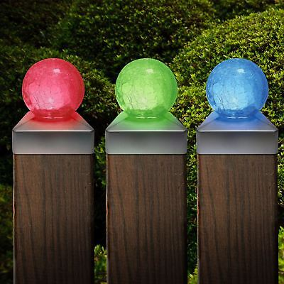 £17.99 • Buy Solar Crackle Glass Ball Garden Post Deck Cap Light Square Outdoor Fence Lights