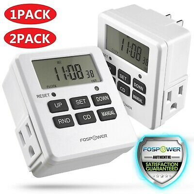 7 Day Digital LCD Electric Programmable Dual Outlet Plug In Clock Timer Switch • 9.39£