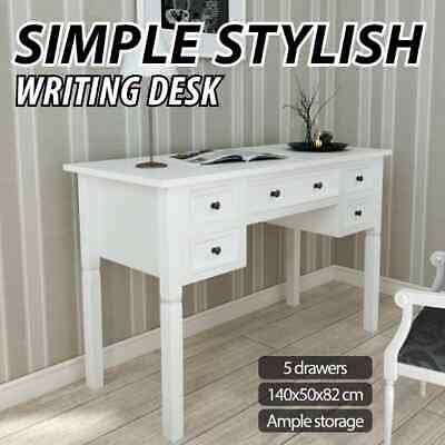 AU219.99 • Buy VidaXL Writing Desk With 5 Drawers White Home Office Study Computer Table