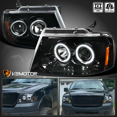 $118.38 • Buy For 2004-2008 F150 06-08 Lincoln Mark LT Jet Black LED Halo Projector Headlights