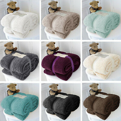 View Details Large Soft Warm Cuddly Teddy Bear Fleece Blanket Throw Sofa Bed Double King • 8.49£