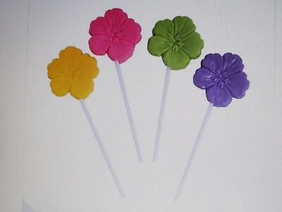 12 HIBISCUS FLOWER SUCKERS Lollipops HAWAIIAN LUAU Beach BIRTHDAY PARTY Favors • 4.98£