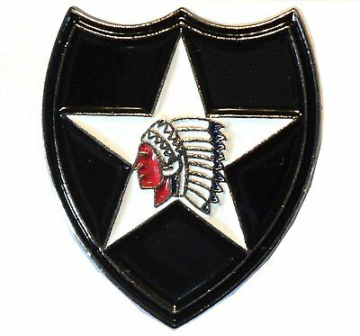 2nd Infantry Division USA US Army Insignia Indian Head Enamel Military Badge NEW • 2.49£