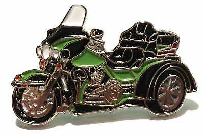 Green Trike 3 Wheeled Bike Biker Motorcycle Motorbike Metal Rocker Enamel Badge  • 2.69£