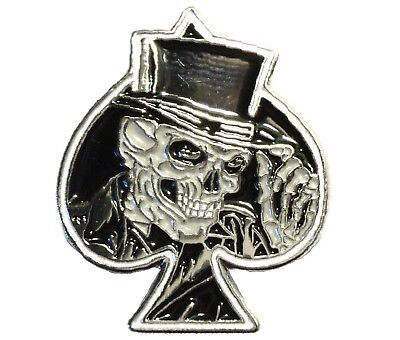 Grinning Skull Ace Of Spades Biker Motorcycle Motorbike Bike Metal Rocker Badge  • 2.69£