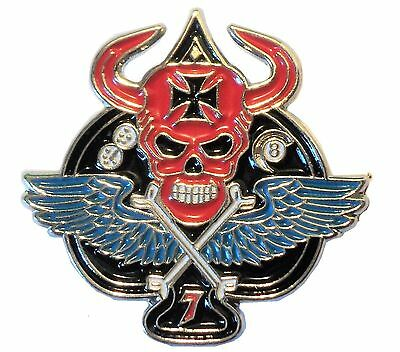Death Skull Winged Ace Iron Cross Biker Rocker Metal Enamel Motorcycle Badge NEW • 2.69£