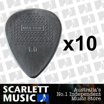 AU7.10 • Buy 10 X Jim Dunlop Max Grip Nylon 1.00mm ( 1mm ) Gauge Grey Guitar Picks *NEW*