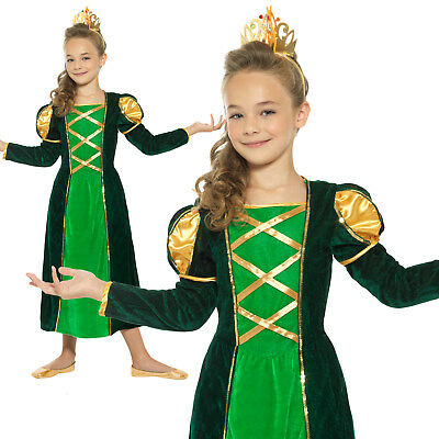 $30.99 • Buy Medieval Princess Costume Tudor Maid Marion Queen Girls Fancy Dress Outfit