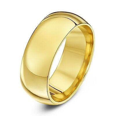 £5.99 • Buy Mens Or Womens 18kt Yellow Gold Plated Plain Wedding Ring Band Wide  6mm 3mm