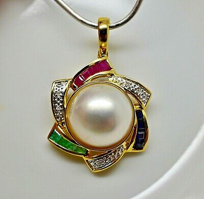$559.30 • Buy 13mm Mabe Pearl With Ruby, Emerald, Sapphire & Diamond Enhancer Pendant 14k NWOT