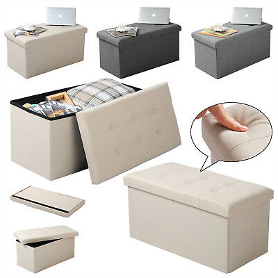 Ottoman Folding Storage Chest Box Bench Footstool Cuboid Removable Cover U149 • 34.99£
