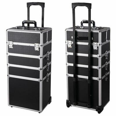 $71.88 • Buy New Pro 4in1 Aluminum Rolling Makeup Jewelry Cosmetic Train Case 4 Wheeled Box
