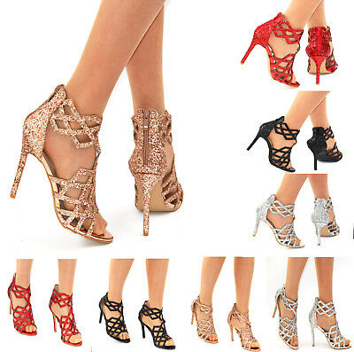 Ladies Sparkly Glitter High Heel Caged Gladiator Peep Toe Shoes Sandals 3-8 • 19.99£
