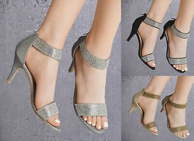 £21.99 • Buy Ladies Diamante Glitter Mid Heel Peep Toe Ankle Strap Sandals Shoes Party Prom
