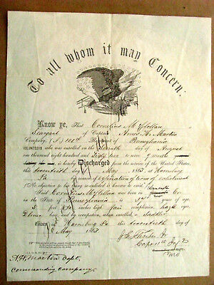 Pennsylvania Civil War Soldier Discharge 126th Pa Infantry • 125$