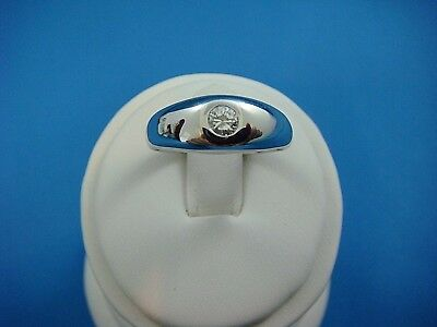 $650 • Buy 14k White Gold Vintage Pinky Gypsy Ring With 0.20 Ct Genuine Diamond, 5.8 Grams