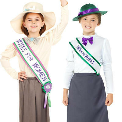 £11.99 • Buy Suffragette Girls Fancy Dress World Book Day Dickens Childrens Kids Costumes New