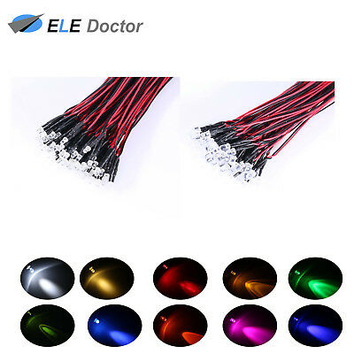 $ CDN2.09 • Buy  10 30 50pcs DC 9-12V 3mm 5mm Pre Wired LED Clear White Red Light Emitting Diode