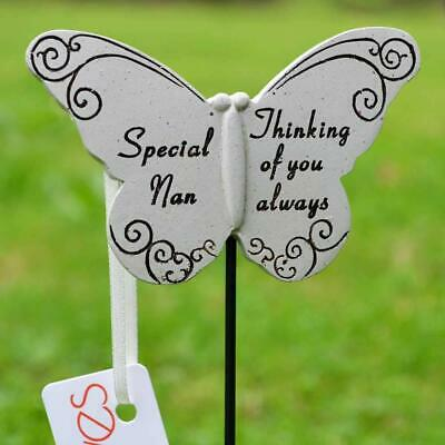 Thinking Of Special Nan Butterfly Memorial Tribute Stick Graveside Plaque • 5.99£
