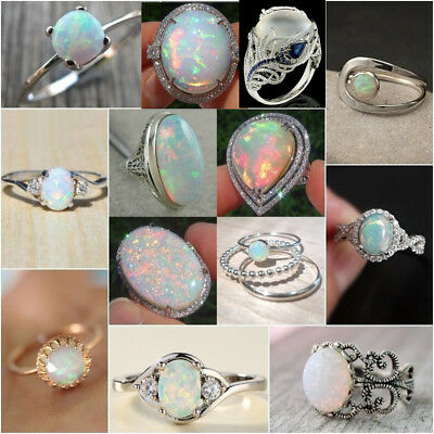AU1.49 • Buy 925 Silver Ring White Fire Opal Moon Stone Wedding Engagement Women Jewelry Gift
