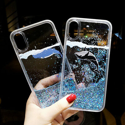AU7.70 • Buy Cute Dolphin Dynamic Liquid Glitter Quicksand Phone Case Cover For IPhone/Huawei
