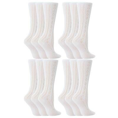 6 Pairs Girls White Knee High 3/4 Length Pelerine Cotton Rich School Socks • 4.99£