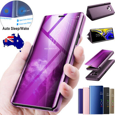 AU10.79 • Buy Samsung Galaxy Note 9 8 S9 S8 Plus Clear View Flip Mirror Stand Case Full Cover