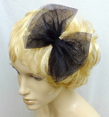 £2.99 • Buy NEW CUTE 80s STYLE 6 In BLACK TULLE GOTH NET PARTY FABRIC BOW HANDMADE HAIR HEAD