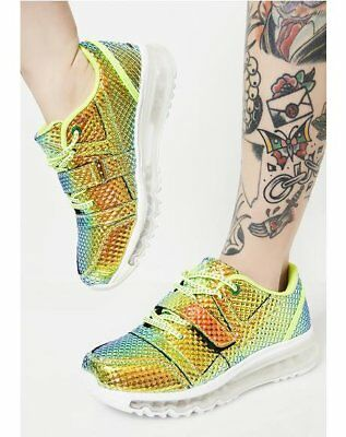 AU147.17 • Buy YRU Pyramid Aiire Hologram Green Iridescent Sneakers Shoes Clear Soles Lace Up