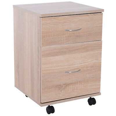HOMCOM Filing Cabinet 2 Drawer Wooden Storage Wheels Office Pedestal • 39.99£