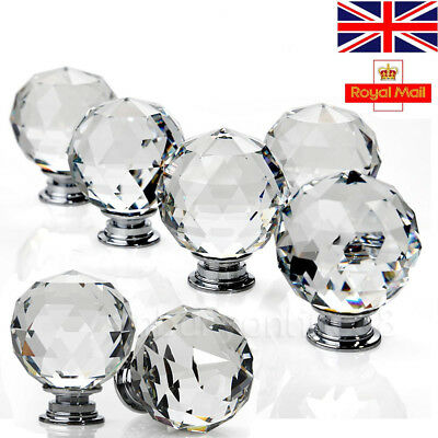 Clear Diamond Cupboard Wardrob Door Knobs Clear Crystal Cabinet Draw Pull Handle • 4.74£