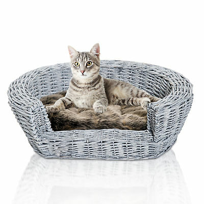 £28.99 • Buy PawHut Elevated Dog Cat Couch Pet Basket Sofa Bed Wicker Willow Rattan W/Cushion
