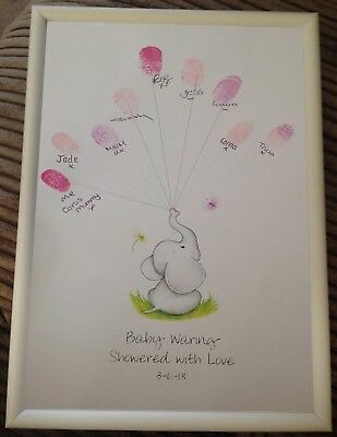 £7.99 • Buy Baby Shower Personalised Showered Love Elephant Print Guestbook Alternative A4