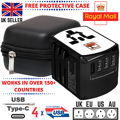 AU46.10 • Buy World Wide Universal Travel Adapter Multi Plug Charger USB Type-C CERTIFIED SAFE